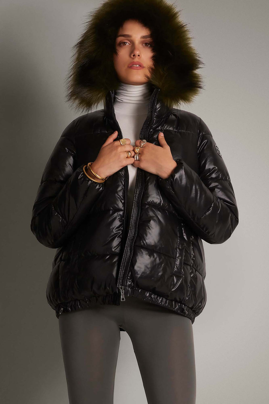 black shiny puffa jacket