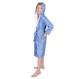 ComfyDown Kids Luxury Blue Hooded Bathrobe for Boys - Soft, Plush - Made in USA