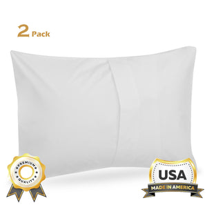 ComfyDown Pillowcase for Toddler & Travel Pillows - 2 Pack - Breathable 100% White Egyptian Cotton, 300 Thread Count Hypoallergenic, Prevents Dust & Features, Envelope Closure - Made in USA