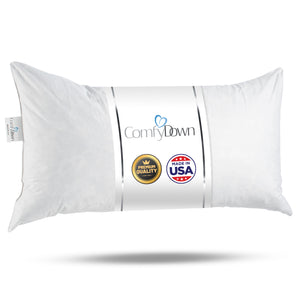 ComfyDown 95% Feather 5% Down, Rectangle Decorative Pillow Insert, Sham Stuffer - MADE IN USA