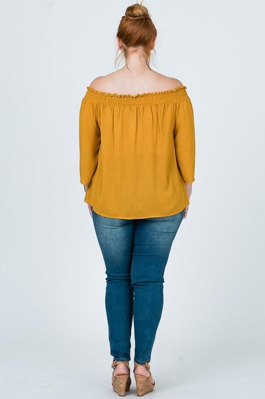 [Curvy] Oliva Button Down Blouse - Mustard