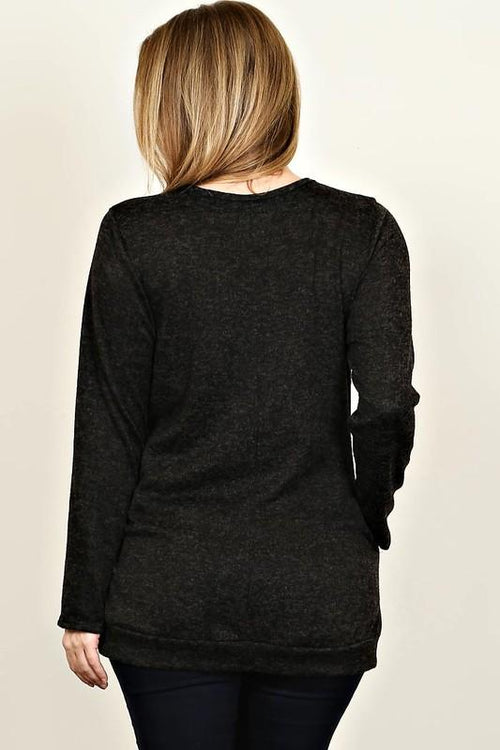 [Curvy] Find Me By The Fire Knit Sweater - Charcoal Grey
