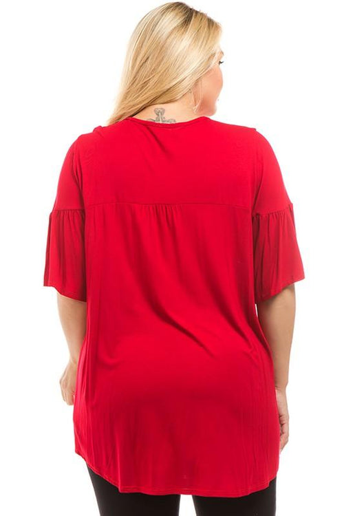 [Curvy] Adorn Me Blouse - Red