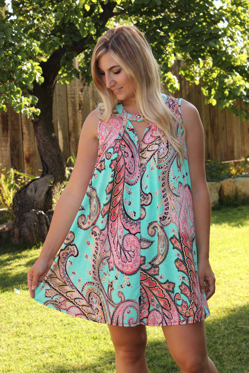 Your Summer To Shine Dress - Blue/Pink