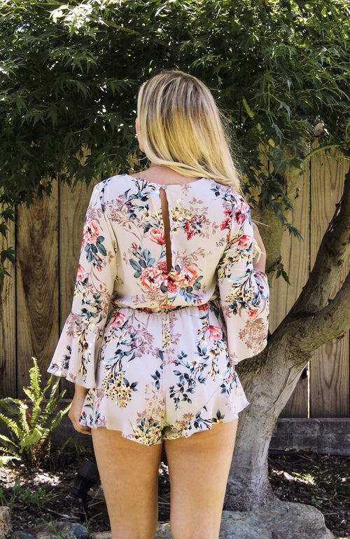 Let Me Be Yours Floral Romper - Misty Pink