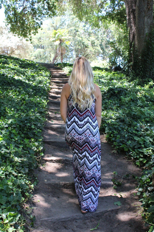Bohemian Maxi Dress - Berry