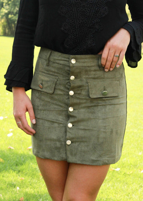 Falling For You Skirt - Olive