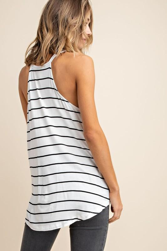 Stripe Of Love Sleeveless Top - Ivory/Black
