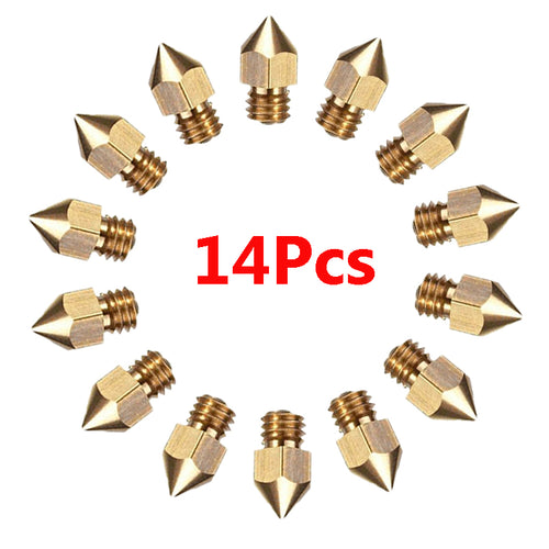 14pcs MK8 Extruder Nozzle For Ender & Cr Series 3D Printer, 0.2, 0.3, 0.4, 0.5, 0.6, 0.8, 1.0mm (EXCEPT CR-10S PRO AND CR-X)