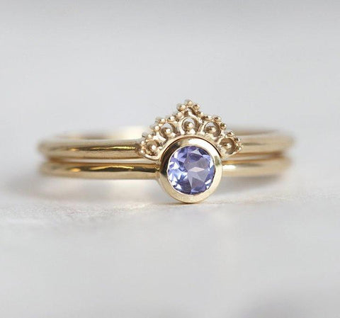 Tanzanite Solitaire With a Matching Lace Ring