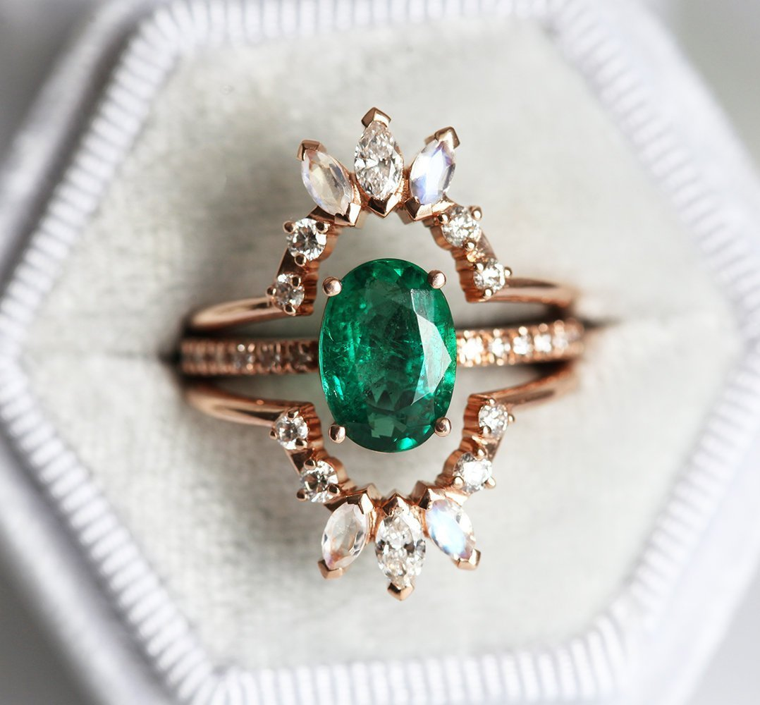 Stella 2ct Emerald Oval Engagement Ring