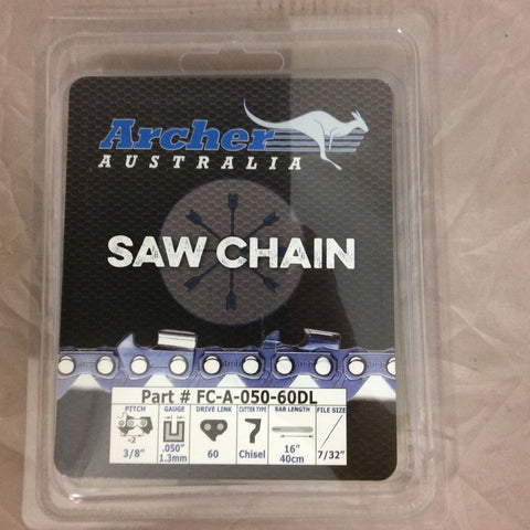 "16"" Archer Chainsaw Chain 3/8"" pitch FULL CHISEL .050 Gauge 60 DL drive links"