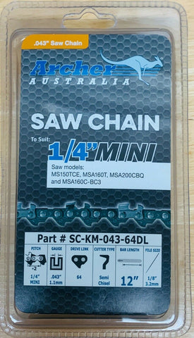 "Archer 12"" CHAINSAW CHAIN 1/4""-043-64DL replaces Stihl# 3670 005 0064 71PM3 64"