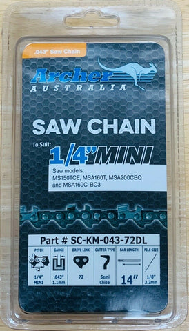 "Archer 14"" CHAINSAW CHAIN 1/4""-043-72DL replaces Stihl# 3670 005 0072 71PM3 72"