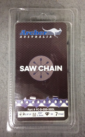 "14"" Archer Chainsaw Chain 3/8LP pitch FULL CHISEL .050 Gauge 50 DL drive links"