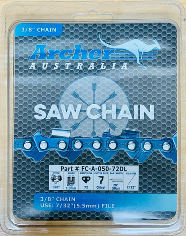 "20"" Archer Chainsaw Chain 3/8"" FULL CHISEL 3/8"".050-72DL replaces 72LGX072G"