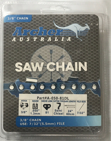 "24"" Archer Chainsaw Chain SEMI-CHISEL 3/8-050-81DL Replaces 72DG081G A1EP-081G"
