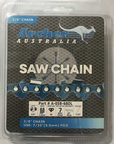 "18"" Archer Chainsaw Chain SEMI-CHISEL 3/8-058-68DL Replaces 72DG068G A2EP-68E"