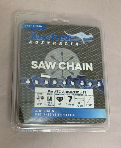 "28"" Archer Chainsaw Chain 3/8"" pitch FULL CHISEL SKIP TOOTH .050 Gauge 93DL"