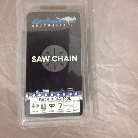 "10"" Archer Chainsaw Chain Blade WORX WG380 40V 10"" Cordless Chainsaw R40"