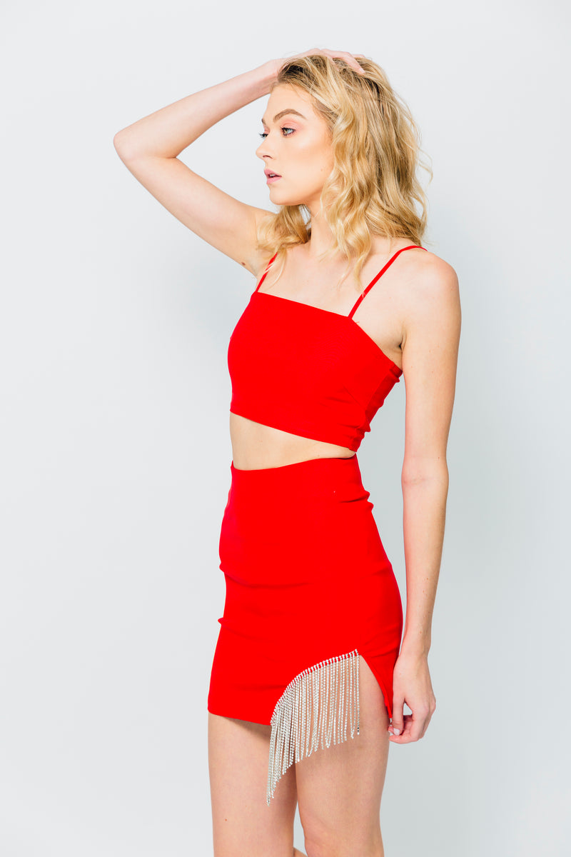 Red Rhinstone Trimmed Skirt