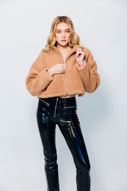 Crop Teddy faux fur jacket