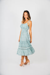 Ditsy Sage Tie Dress
