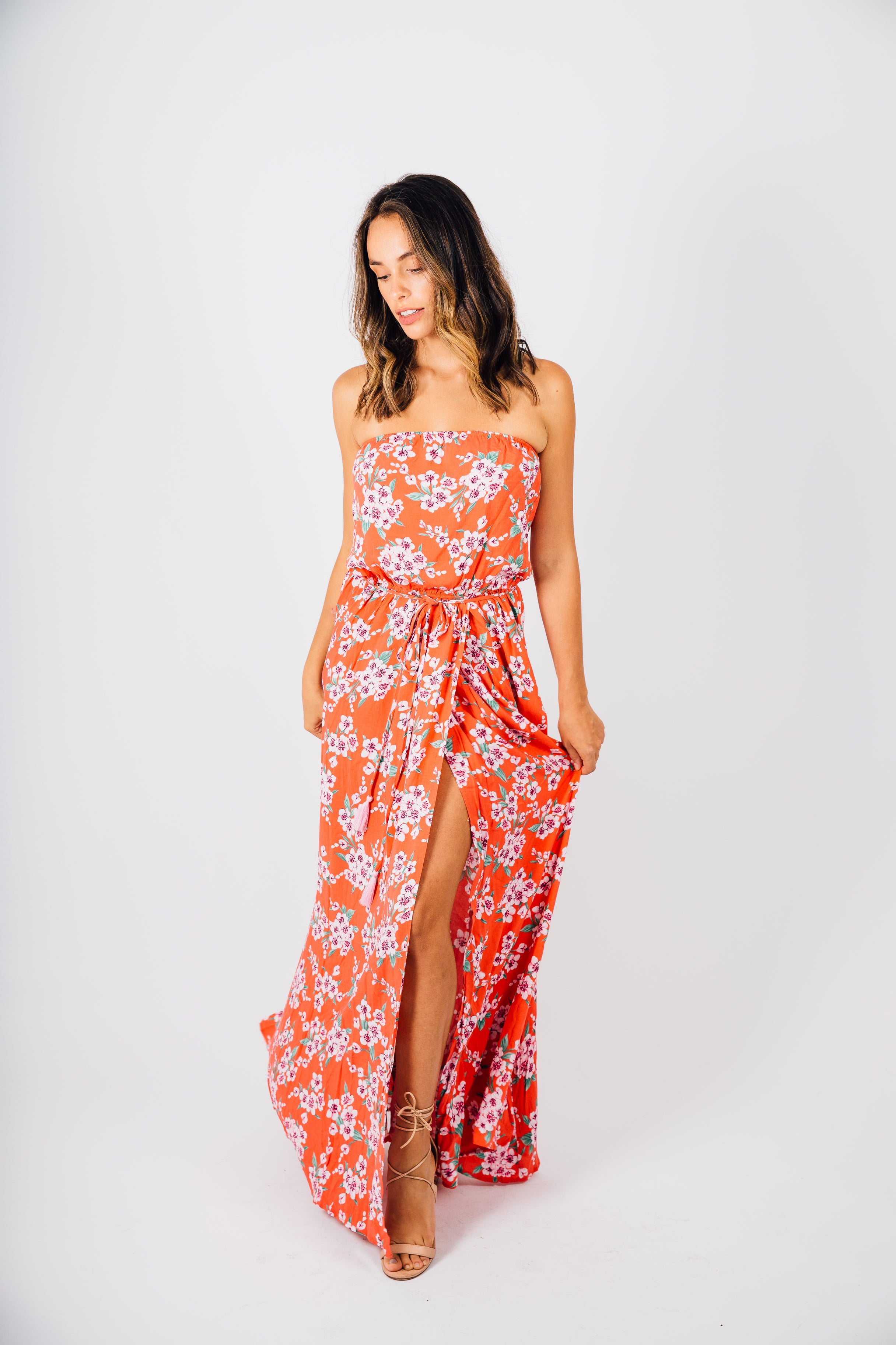 Strapless Belted Red Floral Maxi