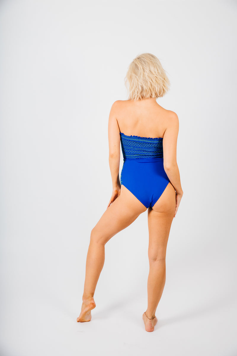 Embroidered Blue  One Piece Bathing Suit