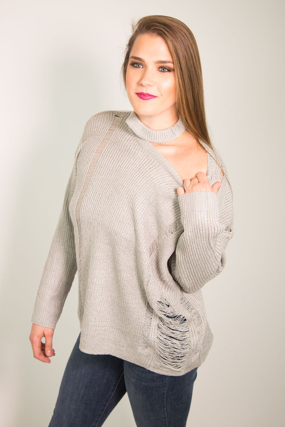Gray Distressed Sweater