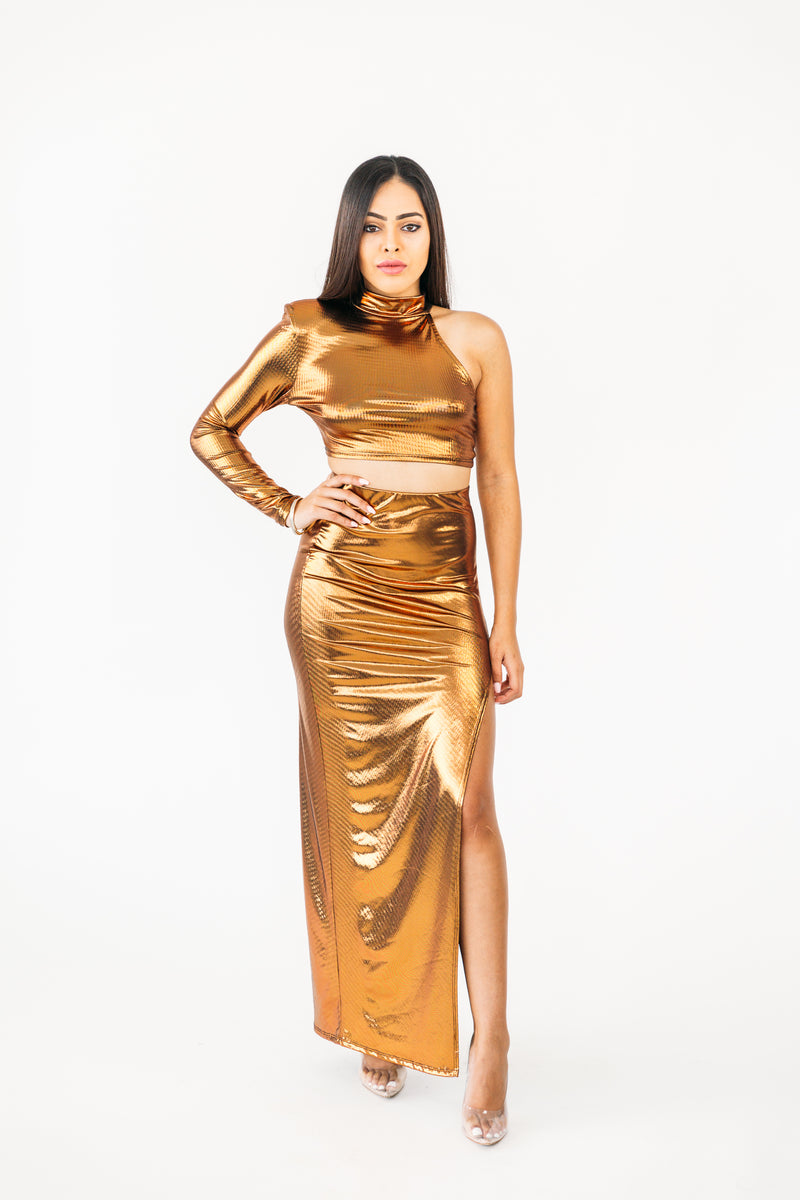 Long Gold Skirt w/slit