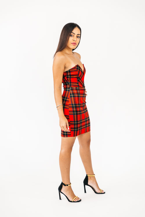 Plaid Strapless Dress