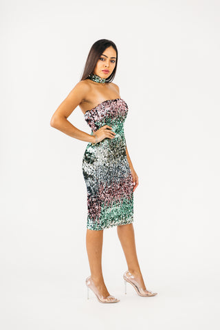 Teal Multi Print Dress