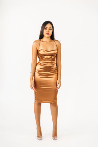 Taupe Tie Up Dress