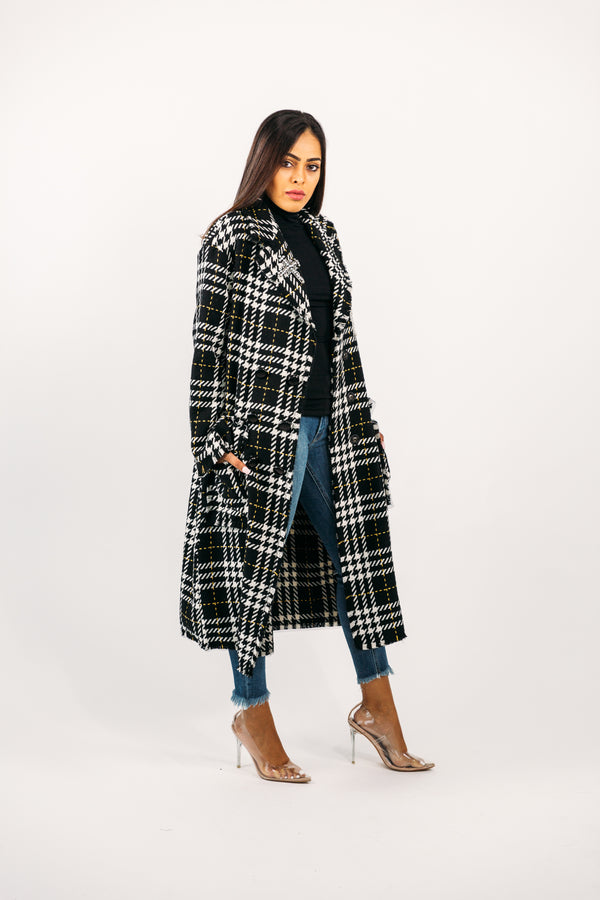 Checkered Trench w/ Crystal Embellishments