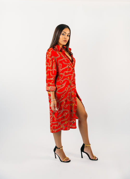 Long Sleeve Print Shirt Dress
