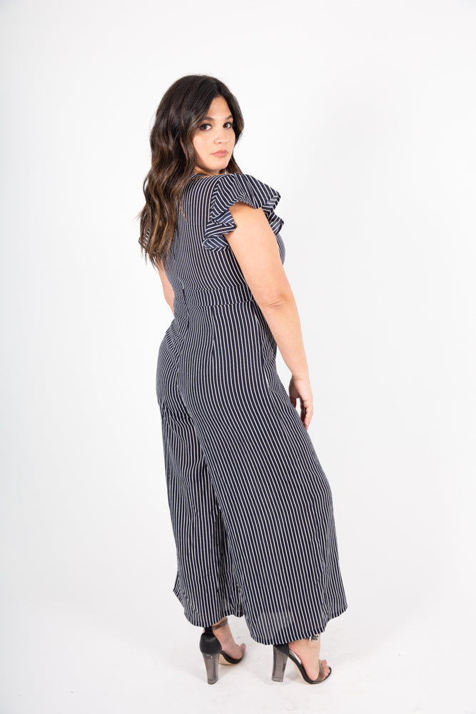 Striped Tie Jumpsuit