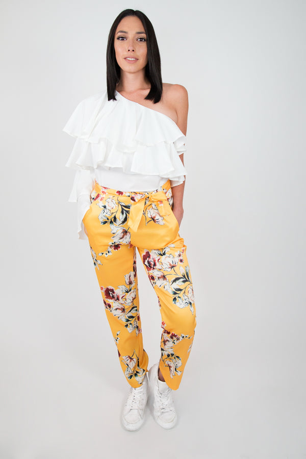 Yellow Satin Floral Pant
