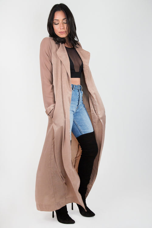 Taupe Satin Woven Duster