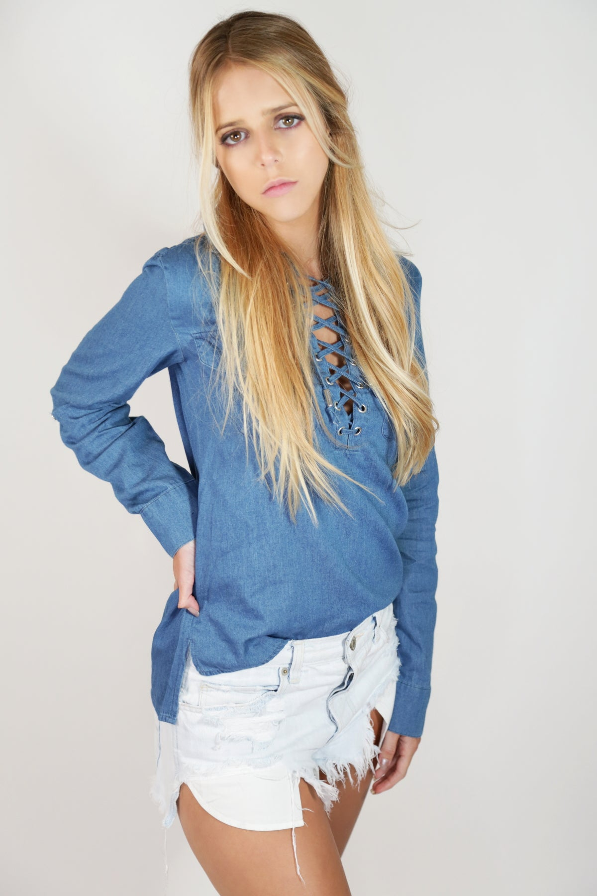 Lace Up Denim Shirt