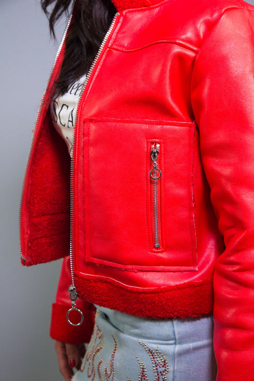 Red Faux Sheep Jacket