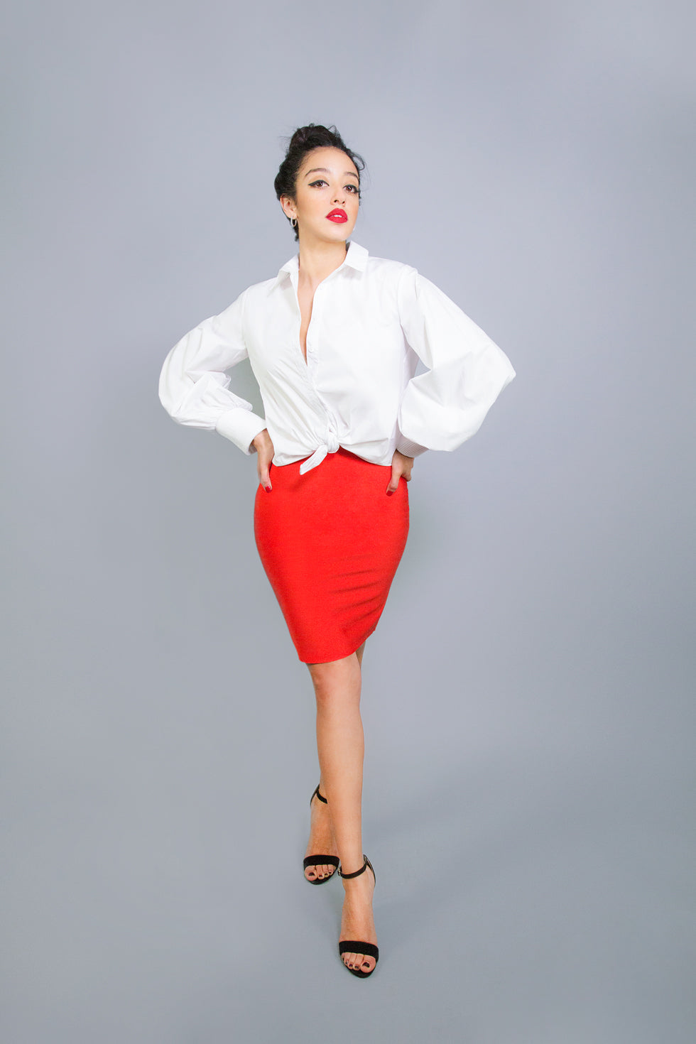 White Collar Cuff Top
