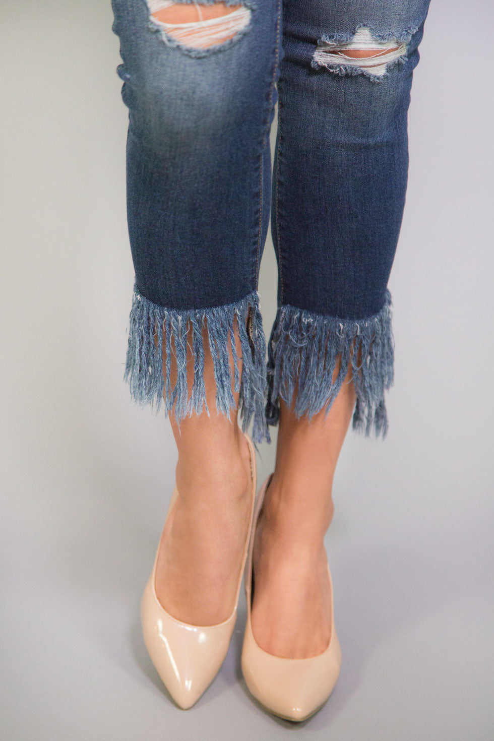 Just Black Denim Mid Rise Fringe Crop Skinny