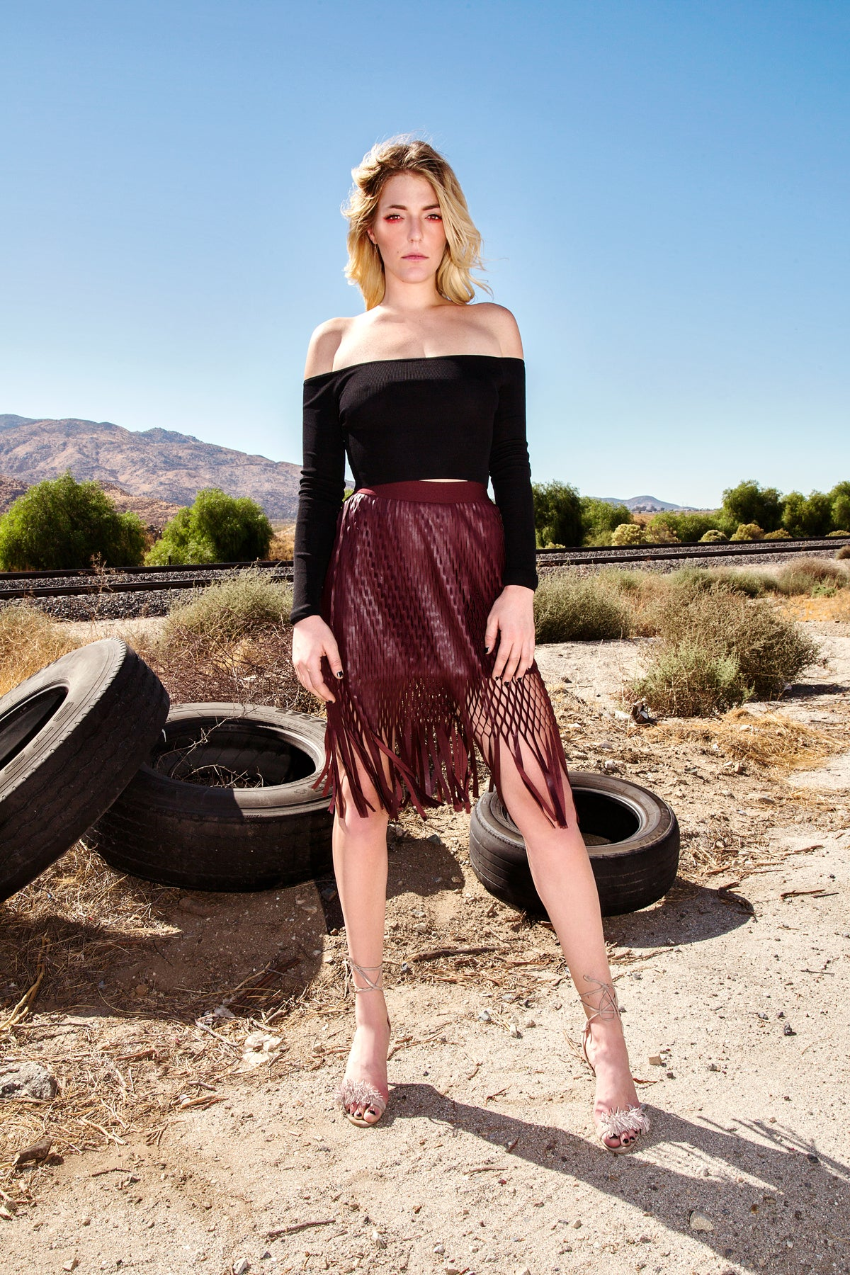 Fringe Faux Leather Skirt