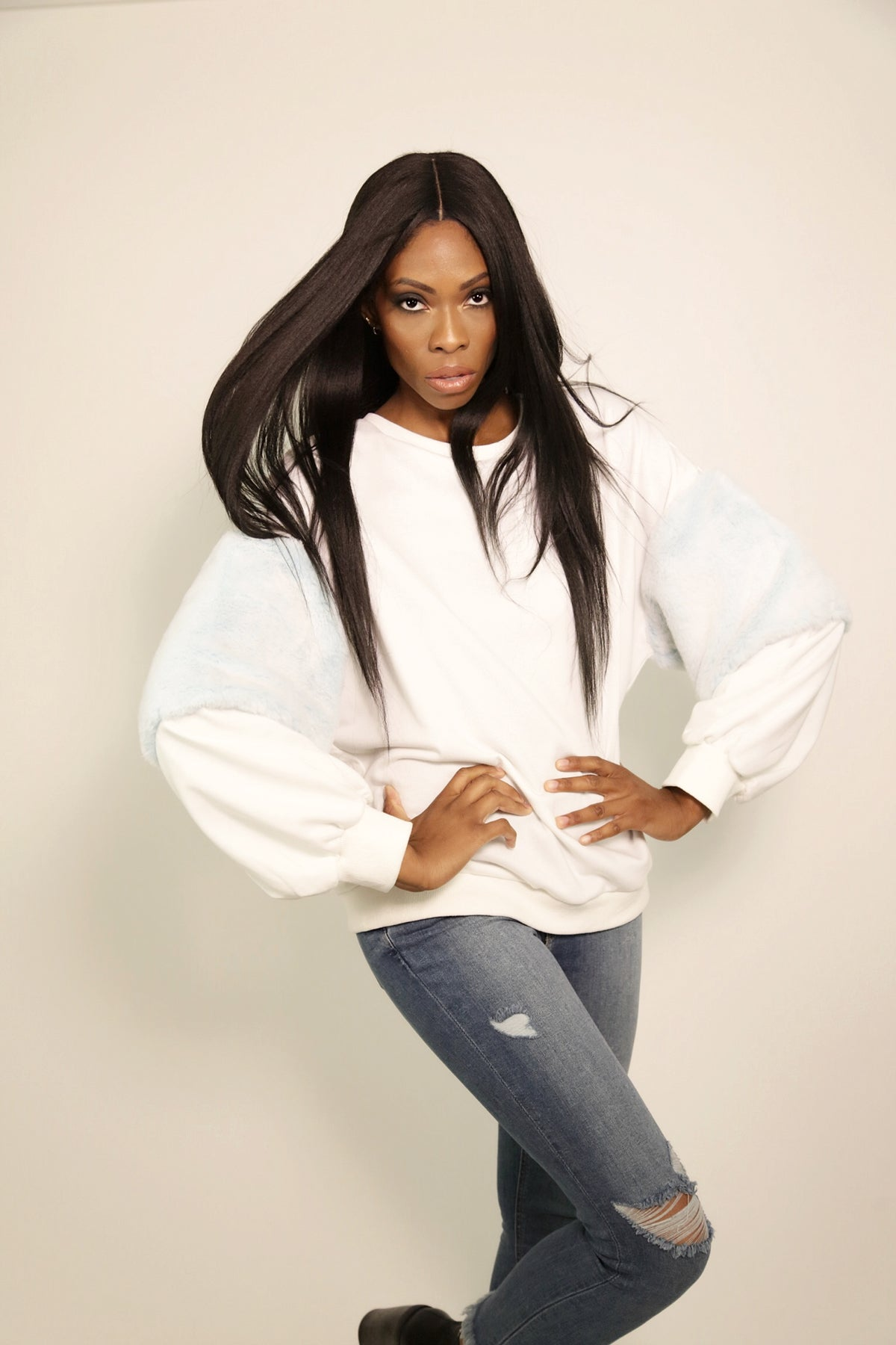 White Pullover Blue Fur Sleeve