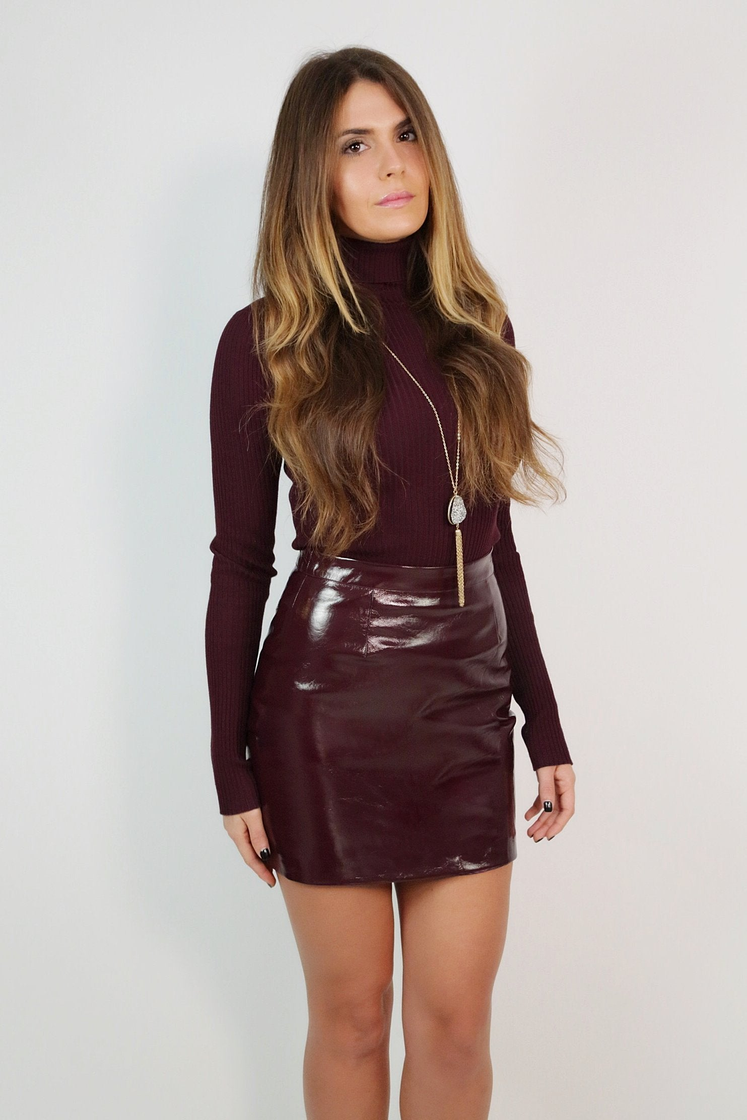 Wine Turtle Neck Knit