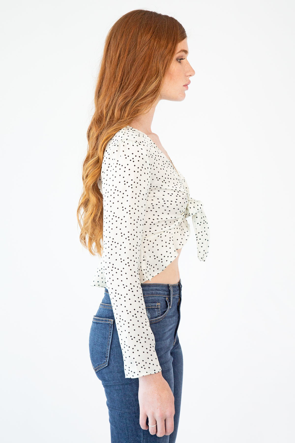 Polka Dot Tie-Front Blouse