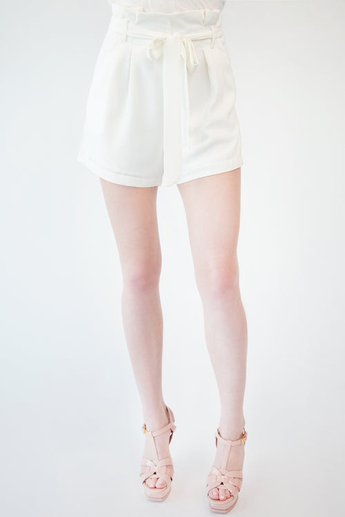 Woven High Waisted Paper Bag Short