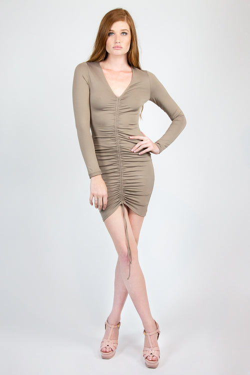Knit Deep Neck Fitted Dress