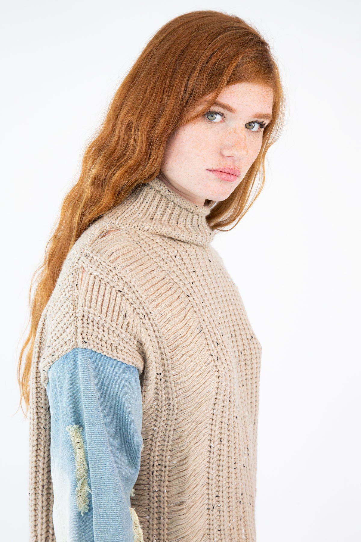 Knitted Sweater With Denim Sleeves